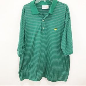 AUGUSTA The Masters Green/Gold Striped Golf Shirt